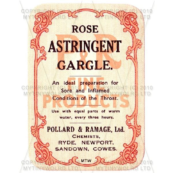 Rose Astringent Gargle Miniature Apothecary Label