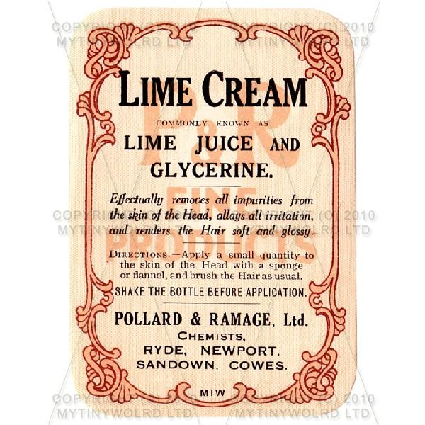 Lime Cream Miniature Apothecary Label