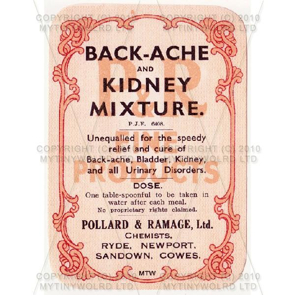 Backache And Kidney Mixture Miniature Apothecary Label