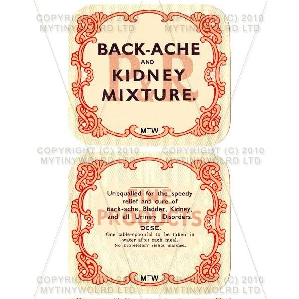 Backache And Kidney Mixture 2 Part Apothecary Label