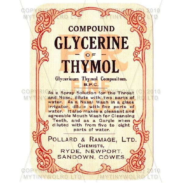 Compound Glycerine Of Thymol Miniature Apothecary Label