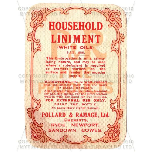 Household Liniment Miniature Apothecary Label