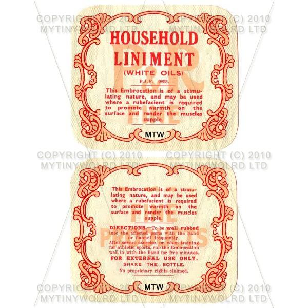 Household Liniment 2 Part Apothecary Label