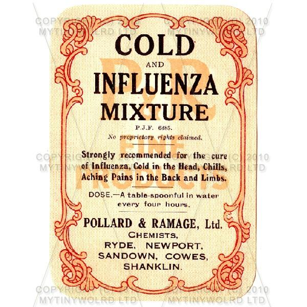 Cold And Influenza Mixture Miniature Apothecary Label
