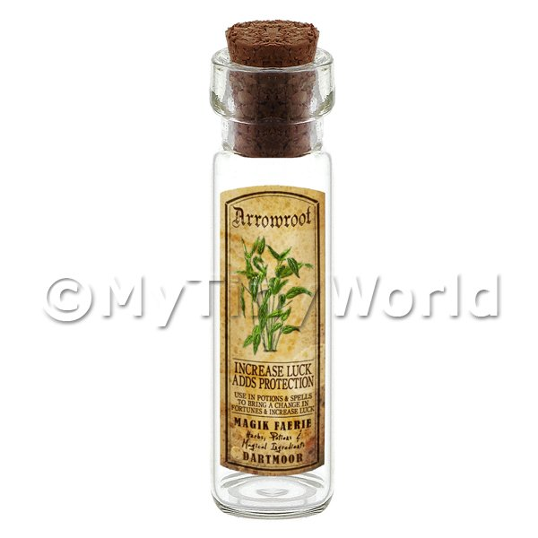 Dolls House Miniature  | Dolls House Apothecary Herb Arrowroot Long Colour Label And Bottle