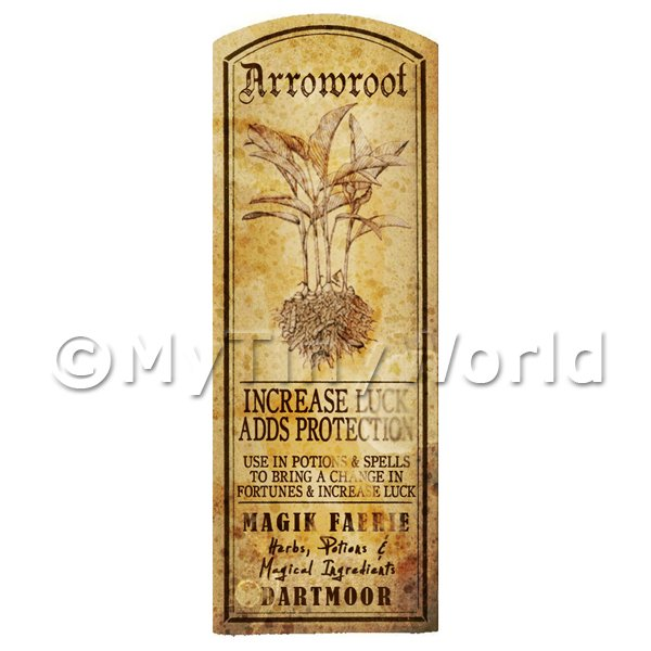 Dolls House Miniature  | Dolls House Herbalist/Apothecary Arrowroot Plant Herb Long Sepia Label
