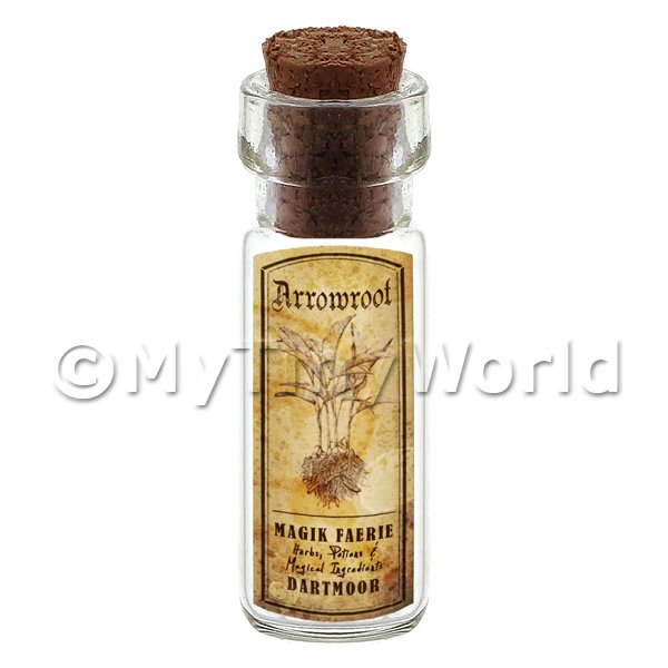 Dolls House Apothecary Herb Arrowroot Short Sepia Label And Bottle