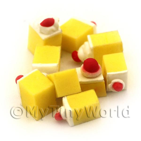 1/12 Scale Dolls House Miniatures  | Dolls House Miniature Lemon Square Topped With Cream And A Cherry