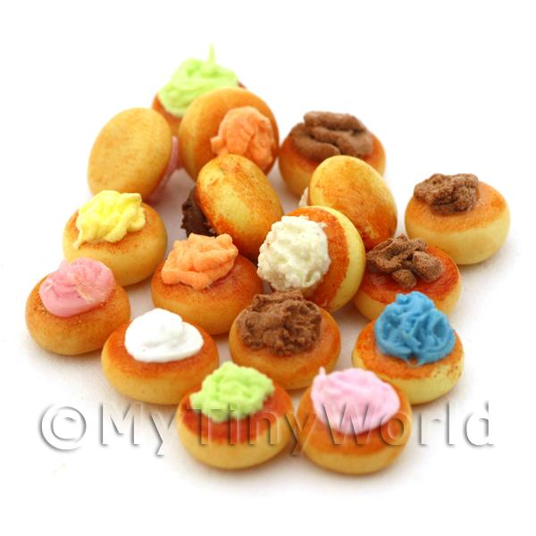 Dolls House Miniature Fancy Mixed Colour Iced Bun