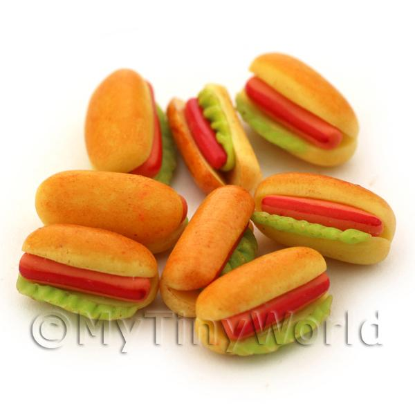 Dolls House Miniature  | Dolls House Miniature Hot Dog And Lettuce In A Bun with Ketchup
