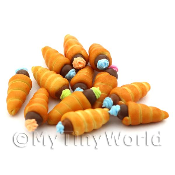 Dolls House Miniature Chocolate Cream Horns
