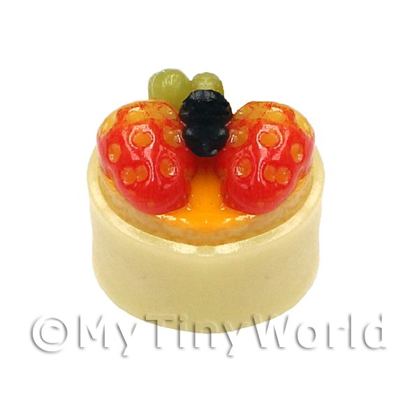 Dolls House Miniature White Chocolate And Fruit Pudding