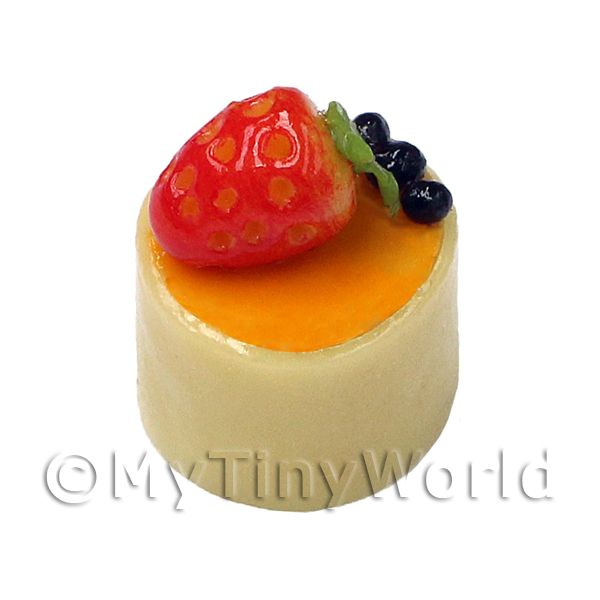 Dolls House Miniature White Chocolate And Strawberry Pudding