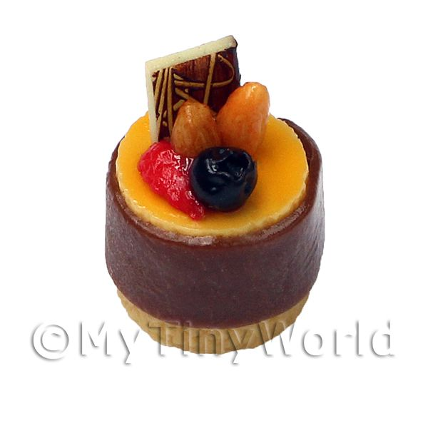 Dolls House Miniature Milk Chocolate And Fruit Pudding