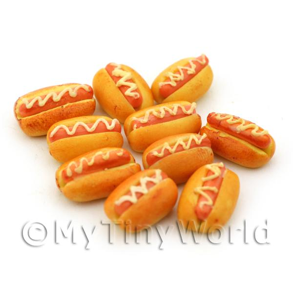 Dolls House Miniature  | Dolls House Miniature Hot Dog In A Bun With Mustard Swirl
