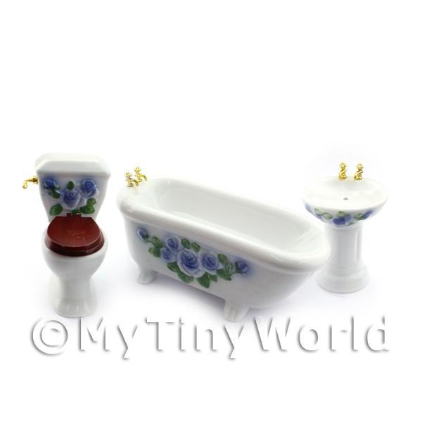 Dolls House Miniature  | Dolls House Miniature Blue and White Rose Bathroom Suite