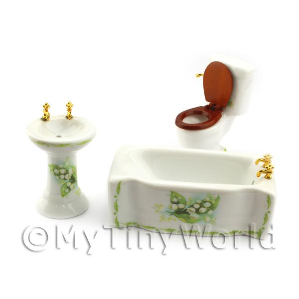 Dolls House Miniature  | Dolls House Miniature Green and White Flower Pattern Bathroom Suite