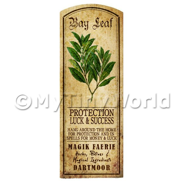 Dolls House Miniature  | Dolls House Herbalist/Apothecary Bay Leaf Herb Long Colour Label