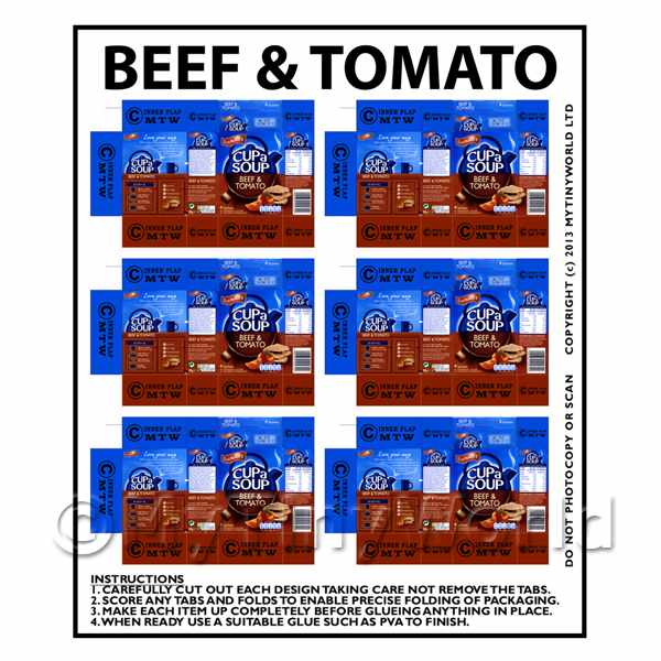 Dolls House Miniature Packaging Sheet of 6 Beef & Tomato Cup a Soup