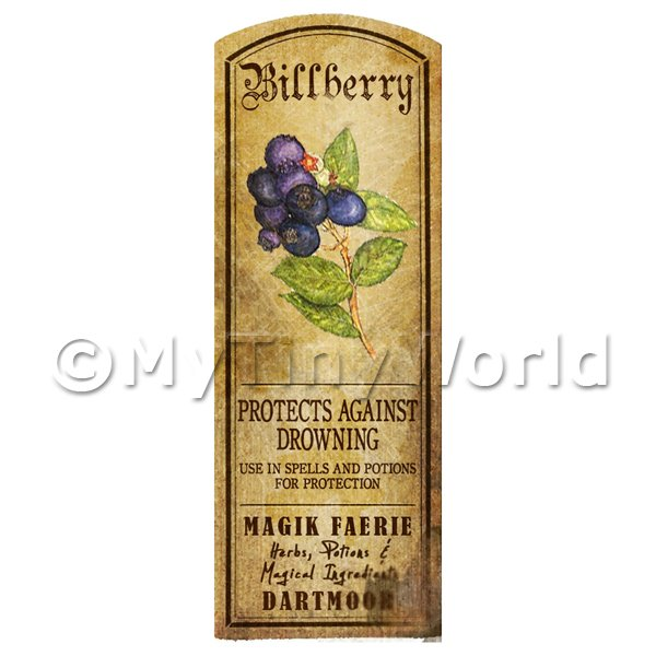 Dolls House Miniature  | Dolls House Herbalist/Apothecary Billberry Herb Long Colour Label