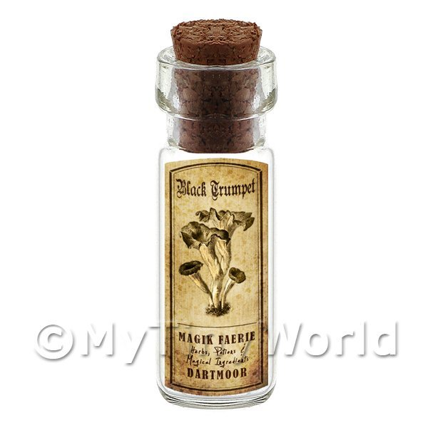 Dolls House Miniature Apothecary Black Trumpet Fungi Bottle And Label
