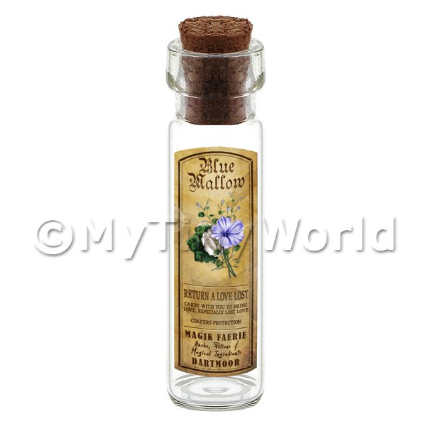 Dolls House Miniature  | Dolls House Apothecary Blue Mallow Herb Long Colour Label And Bottle