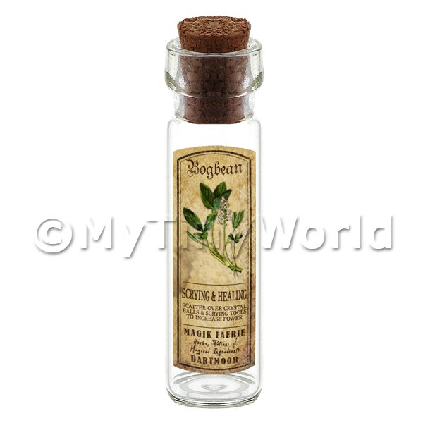 Dolls House Miniature  | Dolls House Apothecary Bogbean Herb Long Colour Label And Bottle