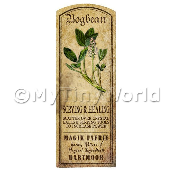 Dolls House Herbalist/Apothecary Bogbean Herb Long Colour Label