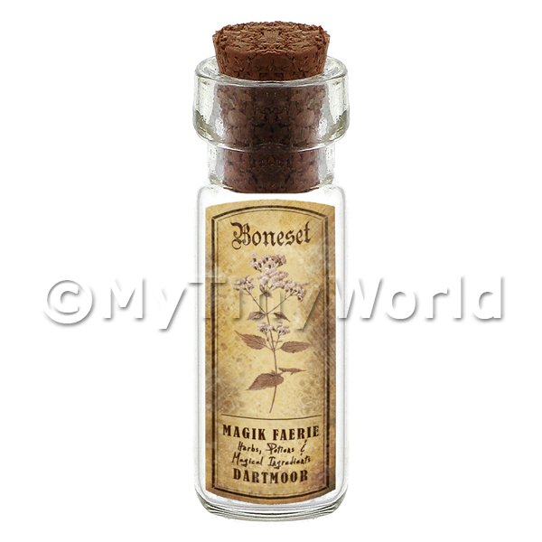 Dolls House Apothecary Boneset Herb Short Sepia Label And Bottle