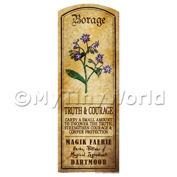 Dolls House Miniature  | Dolls House Herbalist/Apothecary Borage Herb Long Colour Label