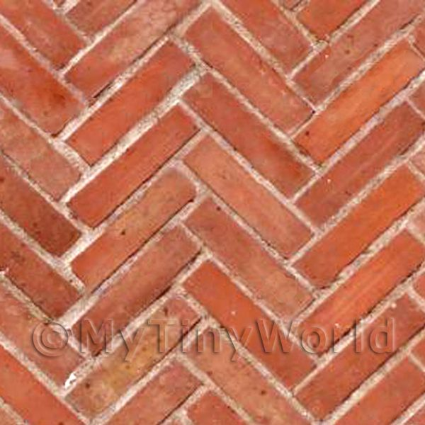 Dolls House Miniature  | Dolls House Miniature Old Herringbone Brick Pattern Cladding