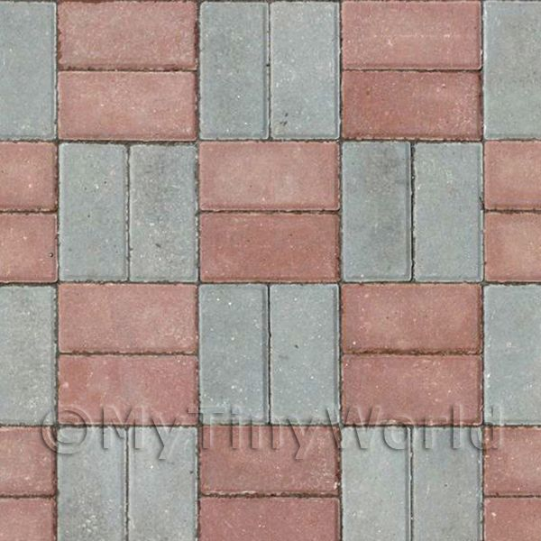 Dolls House Miniature Dual Colour Brick Drive Pattern Cladding