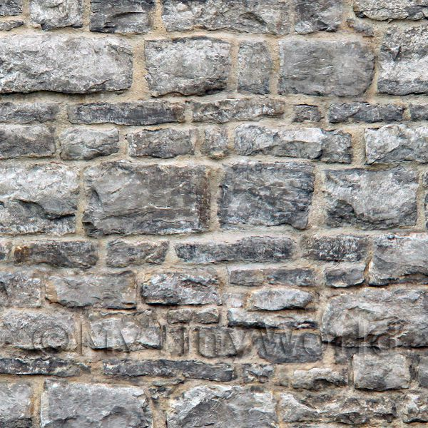 Pack of 5 Dolls House Grey Stone Wall Pattern Cladding Sheets