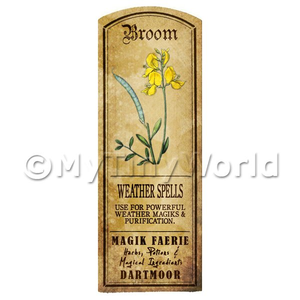 Dolls House Herbalist/Apothecary Broom Herb Long Colour Label