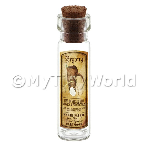 Dolls House Miniature  | Dolls House Apothecary Bryony Herb Long Colour Label And Bottle