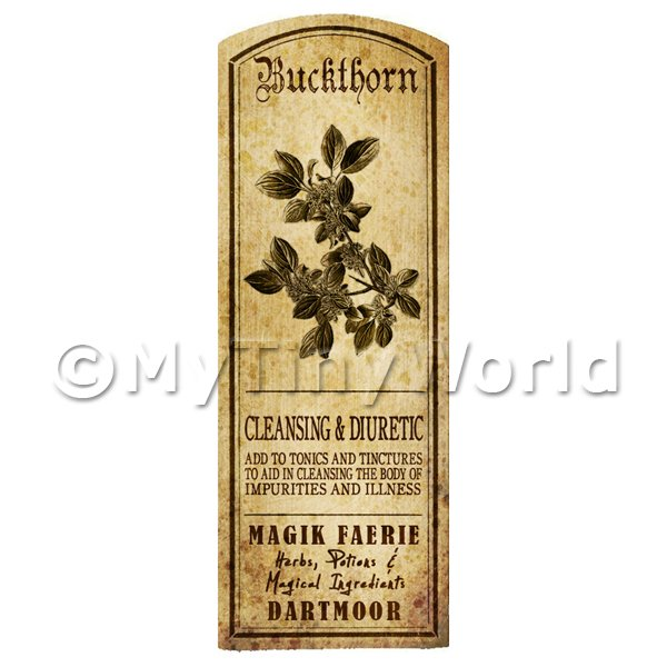 Dolls House Miniature  | Dolls House Herbalist/Apothecary Buckthorn Herb Long Sepia Label