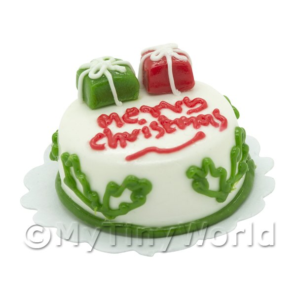 Dolls House Miniature  | Dolls House Miniature Christmas Cake With Two Parcels