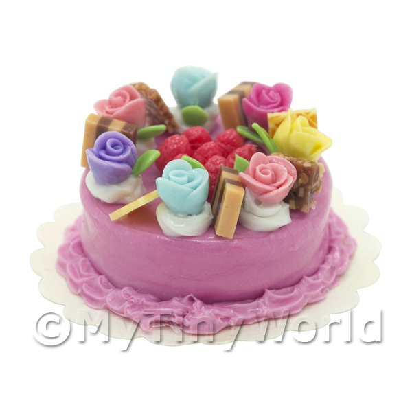 Dolls House Miniature  | Dolls House Miniature Multi Colored Rose Cake