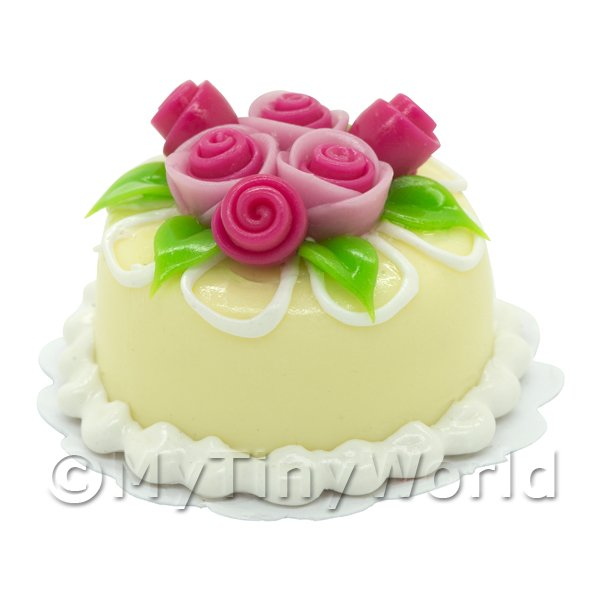 Dolls House Miniature  | Dolls House Miniature Small Round Yellow Iced Cake With Roses