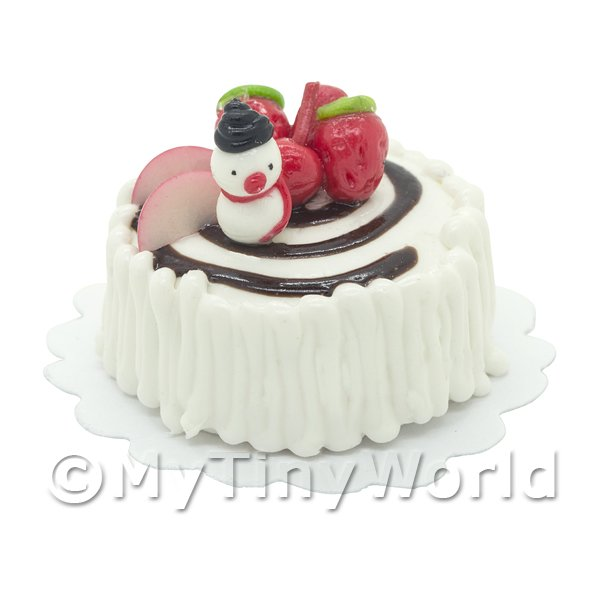 Dolls House Miniature Christmas Cake With Snowman and Fruit
