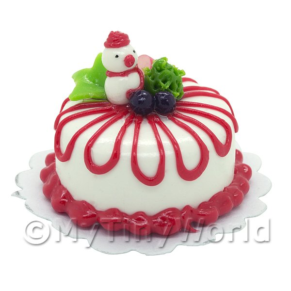 Dolls House Miniature  | Dolls House Miniature Christmas Cake With Snowman and Fruit Decoration