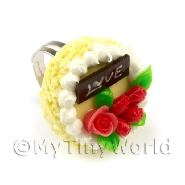 Dolls House Miniature  | Dolls House Handmade Adjustable Yellow Cake Ring