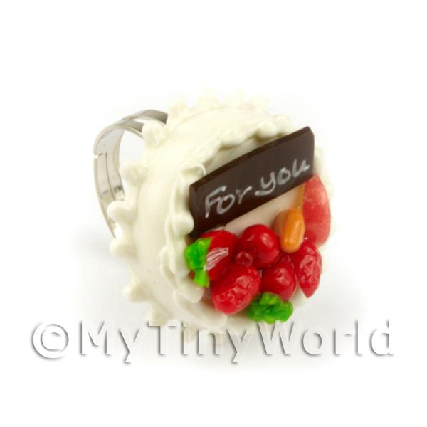 Dolls House Miniature Handmade Adjustable White Cake Ring