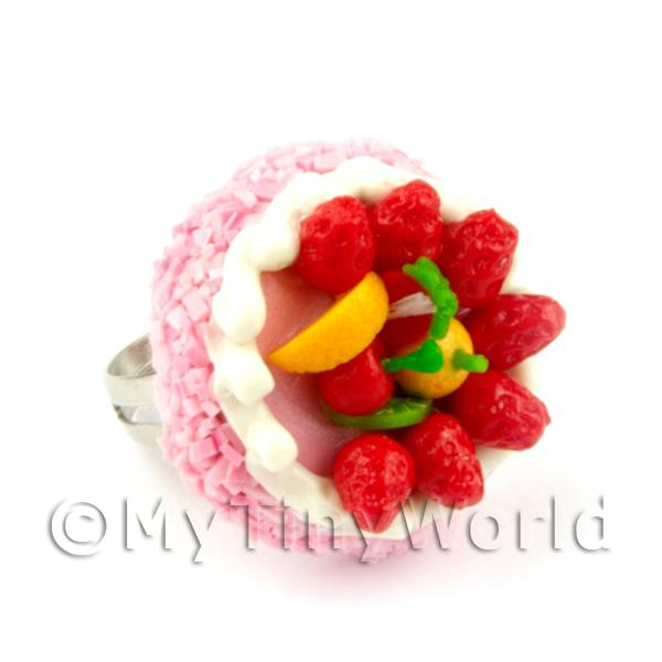 Dolls House Handmade Adjustable Pink Strawberry Cake Ring