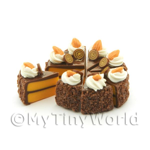 Dolls House Miniature Whole Sliced Chocolate Toffee Cake