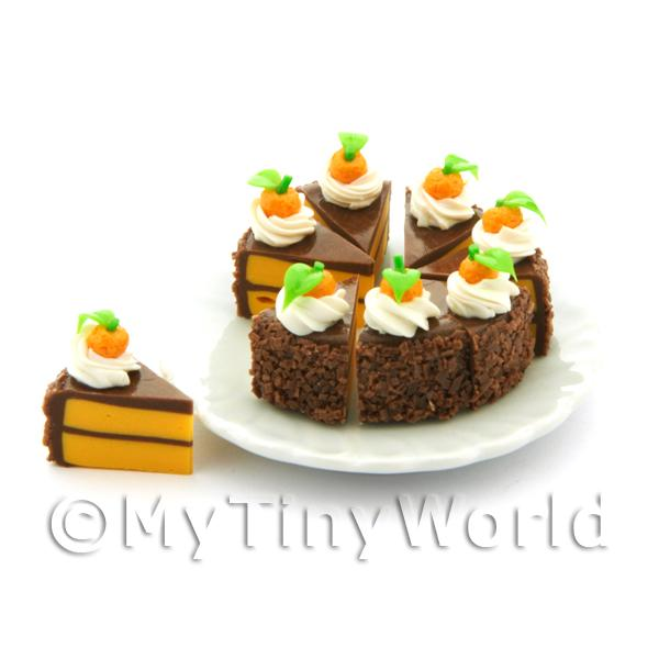 Dolls House Miniature Whole Sliced Chocolate Orange Cake