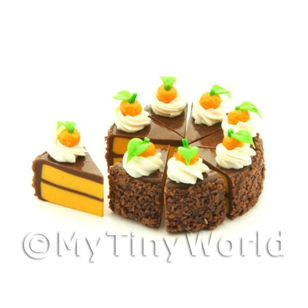 Dolls House Miniature Whole Sliced Loose Chocolate Orange Cake