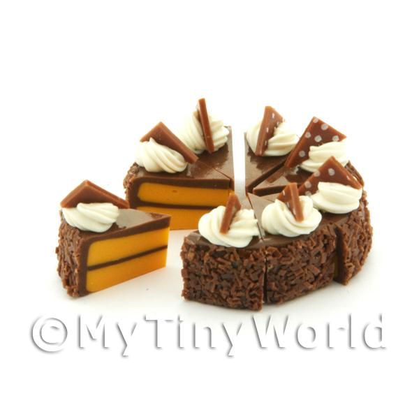 Dolls House Miniature  | Miniature Whole Sliced Loose Chocolate Triangle Cake