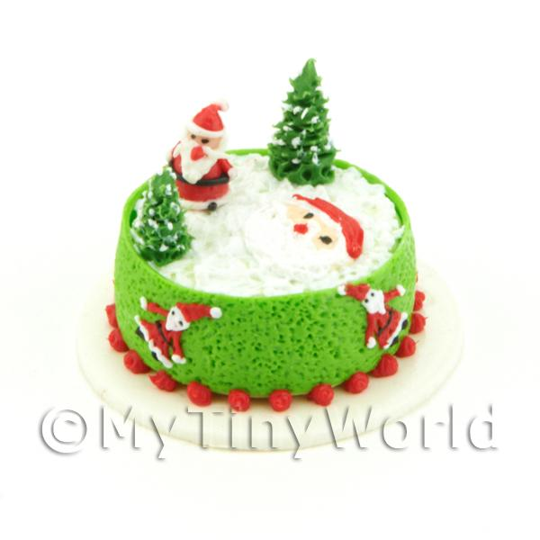 Dolls House Miniature Father Christmas Themed Cake
