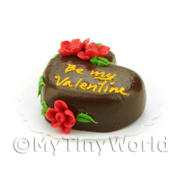 Dolls House Miniature Chocolate Heart Valentines Cake